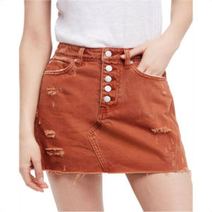 Free People Womens Button Fly Denim A-line Skirt